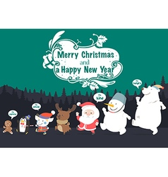 Christmas character and new year greeting card vector