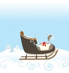 Christmas retro sled gift snow snowflake surprise vector