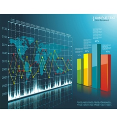 Color Diagram on the digital technology background vector image vector image