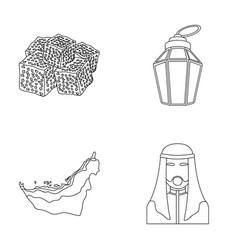 Eastern sweets ramadan lamp arab sheikh vector