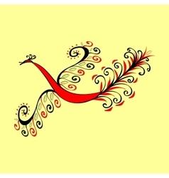 Fabulous red bird peacock vector