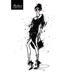 Fashion girl in sketch-style retro poster vector
