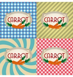 Four types of retro textured labels for carrot vector