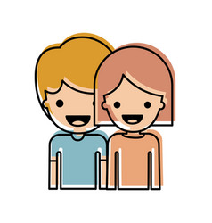 Half body people with boy in t-shirt and short vector
