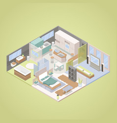High tech modern apartment interior isometric vector