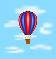 Hot air balloon flying on blue sky vector