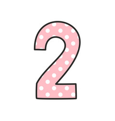 number 2 with white polka dots on pastel pink vector image vector image