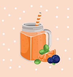Orange smoothie fresh drink retro style vector