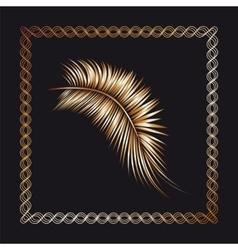 Palm tree branch in the frame vector