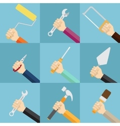 Set of hands holding tools vector image