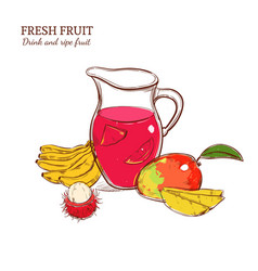 Sketch colored fresh drink concept vector