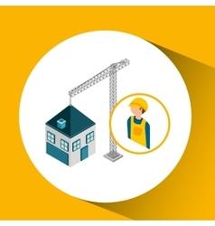 Under construction worker crane new house vector