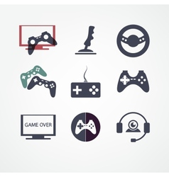 video games icon set vector image