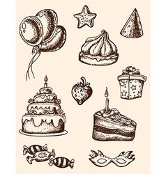 vintage hand drawn birthday elements vector image
