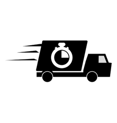 Truck or van and analog chronometer icon vector