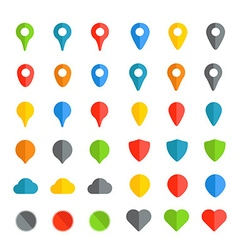 Navigation pins color collection isolated on white vector image