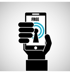 hand holding smartphone internet wifi free icon vector image