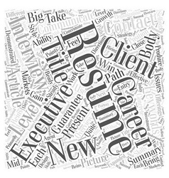 Executive resumes word cloud concept vector