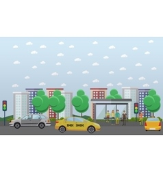 Street traffic concept  flat vector