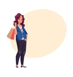 Half turned young pregnant woman holding shopping vector
