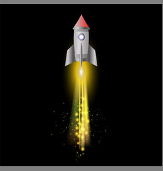 space rocket on night sky background vector image