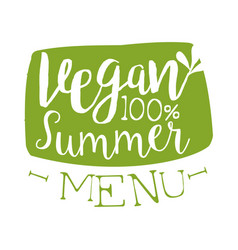 vegan summer menu green label vector image