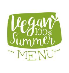 Vegan summer menu green label vector