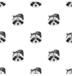 seamless pattern with raccoons hipsters vector image