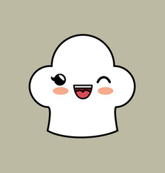 Kawaii toque blanche icon vector