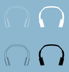 Headphones the black and white color icon vector