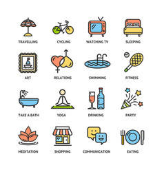 Relaxation rest time color thin line icon set vector