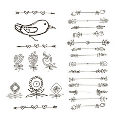 set of hand drawn black doodle design elements vector image