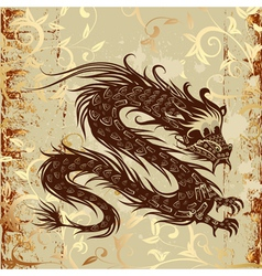 Dragon on paper grunge vector