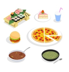 Food isometric icons hamburgers and sushi cake vector
