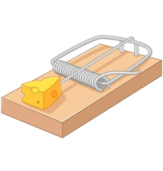 Cartoon free cheese in a mousetrap vector