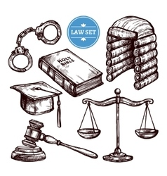Hand drawn law set vector