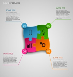 Info graphic with colored puzzle design template vector