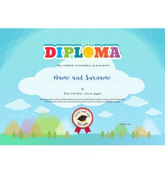 Colorful diploma certificate for kids template vector