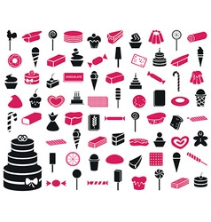 Icons sweets and confectionery products vector