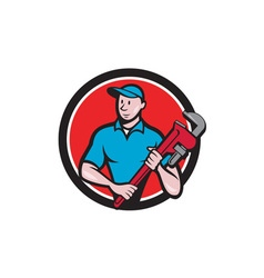 Plumber Holding Monkey Wrench Circle Cartoon vector image