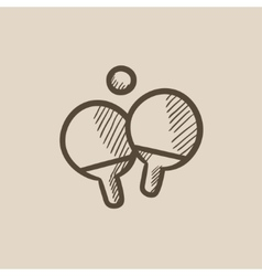Table tennis racket and ball sketch icon vector