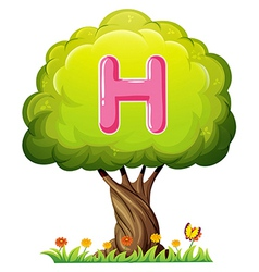A tree with a letter H vector image vector image
