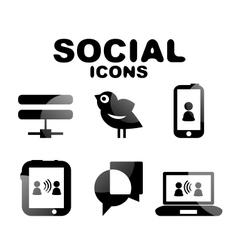 Black glossy social icon set vector image vector image