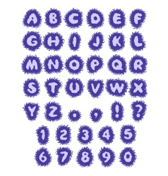 Blue abc water alphabet in blot vector