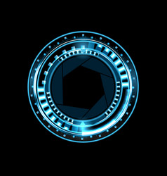 brilliant technological eye hud on a black vector image vector image