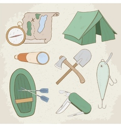 Camping hand drawn icons vector