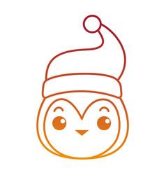 Cute penguin head with christmas hat kawaii vector