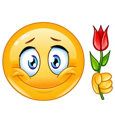 emoticon with flower vector image vector image