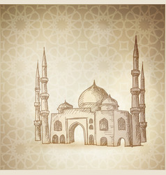 hand drawn sketch of the mosque on the golden vector image vector image