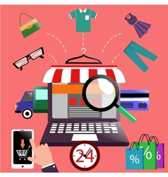 Internet shopping concept laptop with awning vector